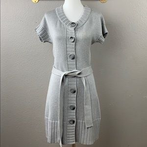 INC silk gray cardigan sweater dress with die